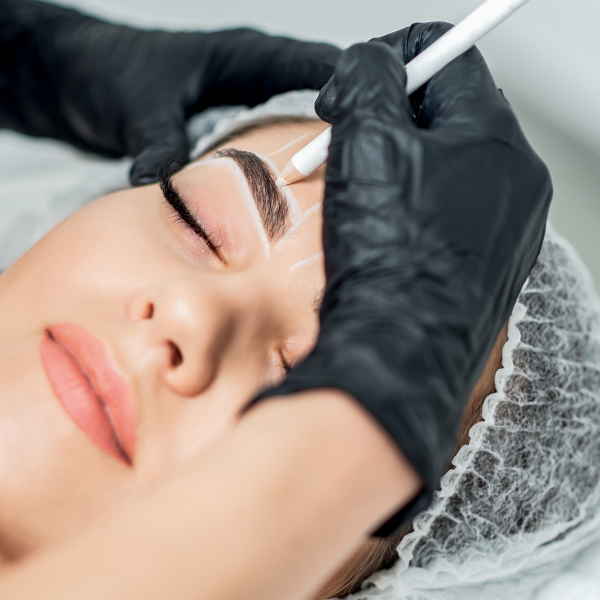 Lady getting microblading